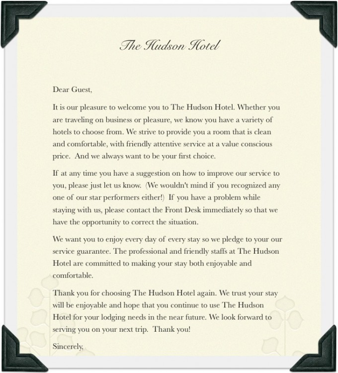 Hotel welcome note b e d b r e a k f a s t hotel guest welcome letter hotel thecheapjerseys Gallery